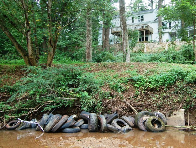 Tires, including some whitewalls from the 1940's, removed from the Reedy River in September 2012.