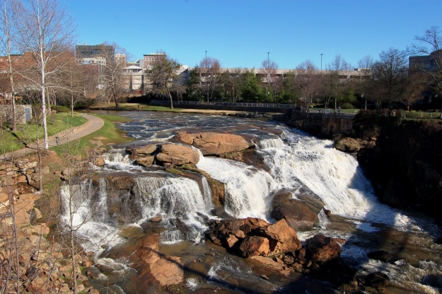 The Reedy River Falls in downtown Greenville are 28-feet tall.
