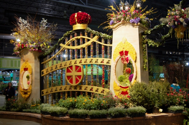 Gates of the Royal Palace offer an over-the-top floral welcome to the 2013 Philadelphia Flower Show.