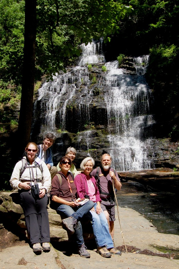 Hiking group at Station Cove Falls: Kristina, Libby, Toni, Gwen, Judith, and our leader, Dan