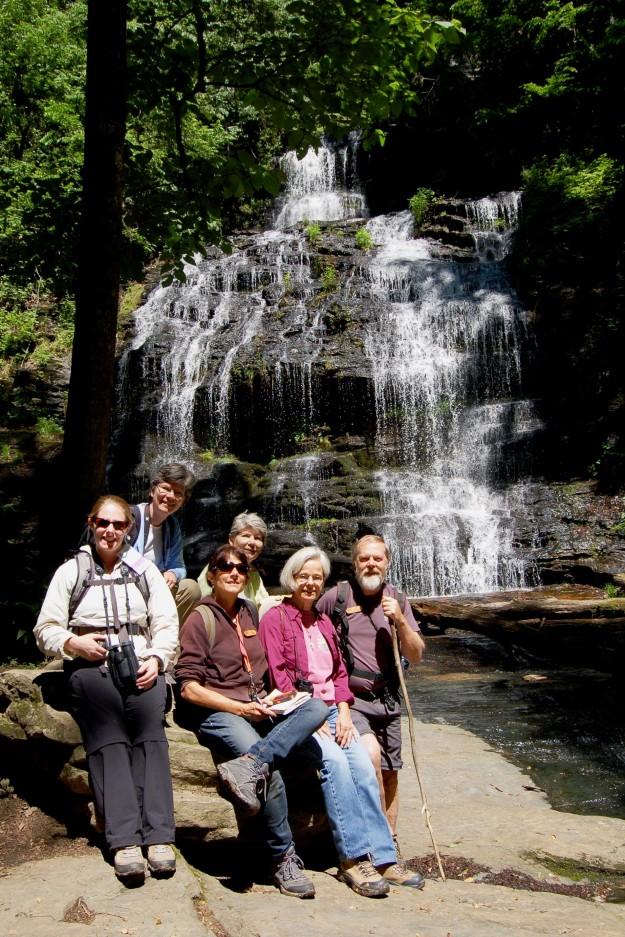 Hiking group at Station Cove Falls: Kristina, Libby, Toni, Gwen, Judith, and our leader, Dan