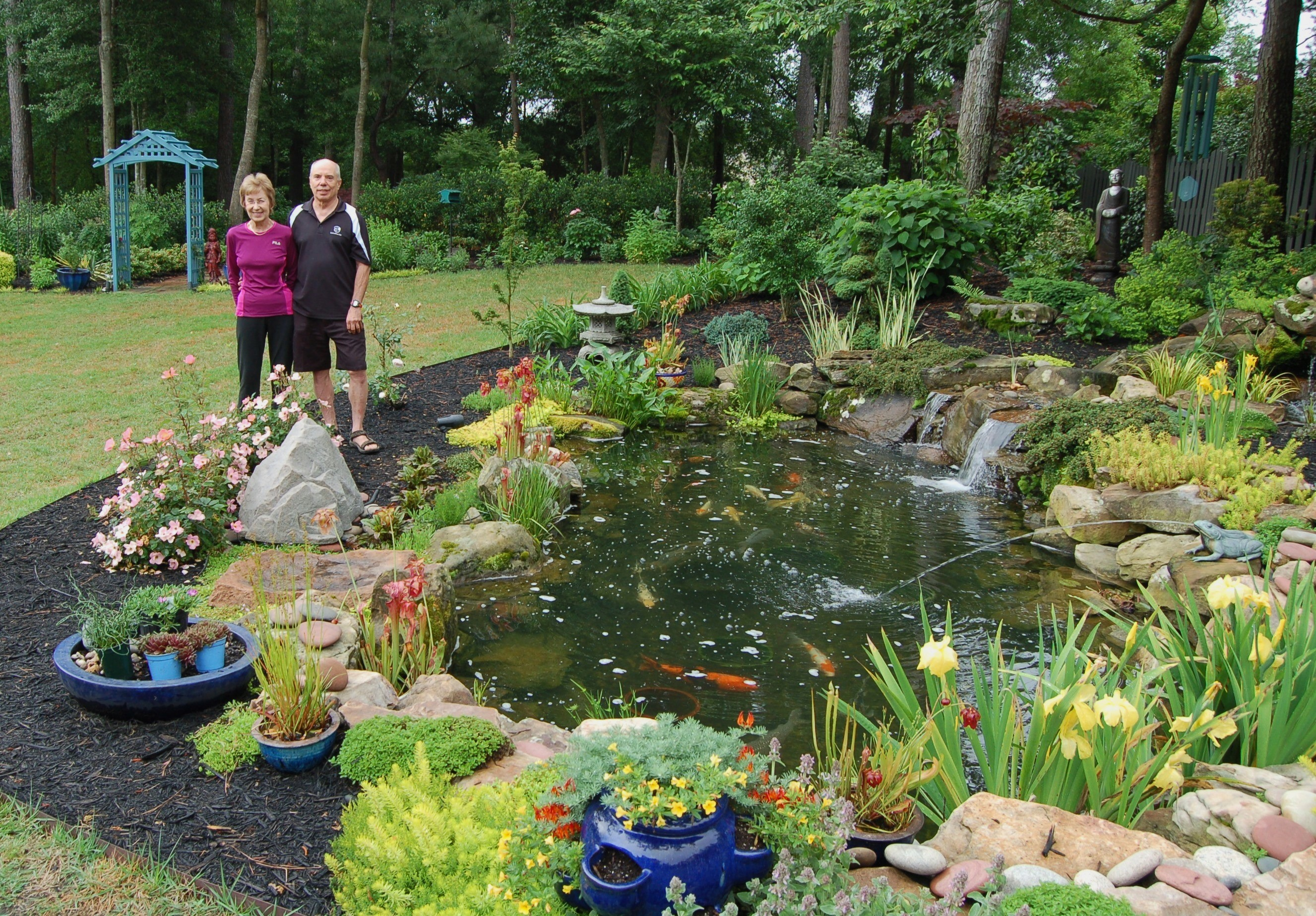 Sc koi water garden society opens 2013 tour hortitopia for Garden pond water features