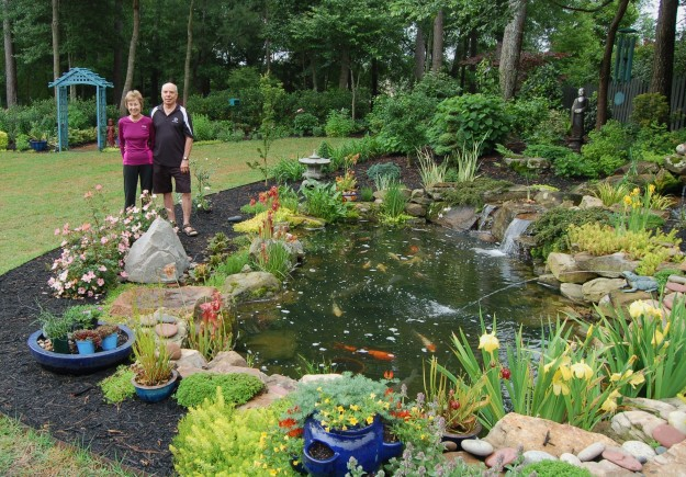 Joyce and Ron Bryson's backyard features a 1,900 gallon water garden.