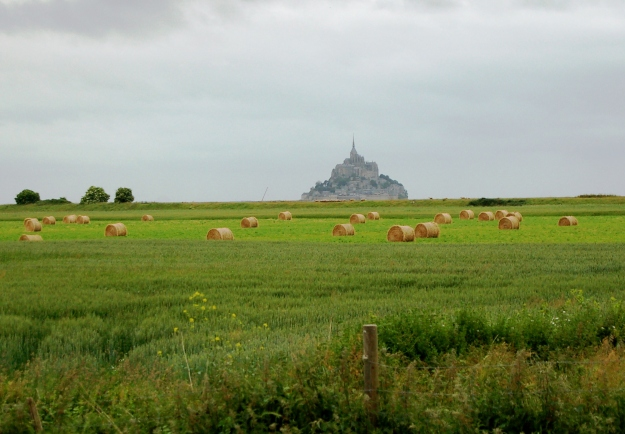 Seen from a distance, Mont Saint-Michel towers above fields of crops and cattle.