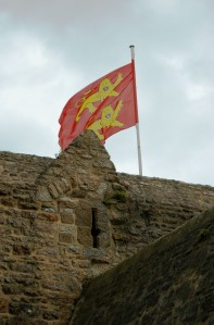 The colorful flag of Normandy.