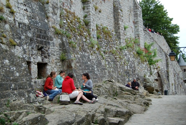 Picnic at the base of the abbey walls.