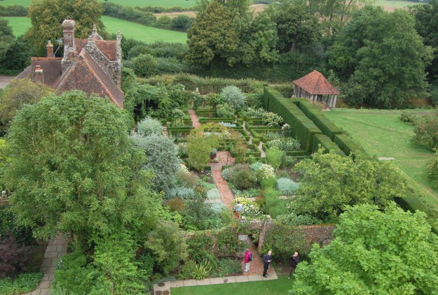 The white garden at Sissinghurst, viewed from the tower.