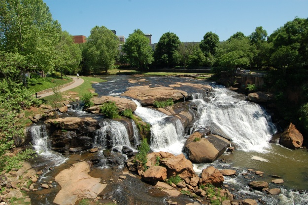 The main falls of the Reedy River in downtown Greenville.