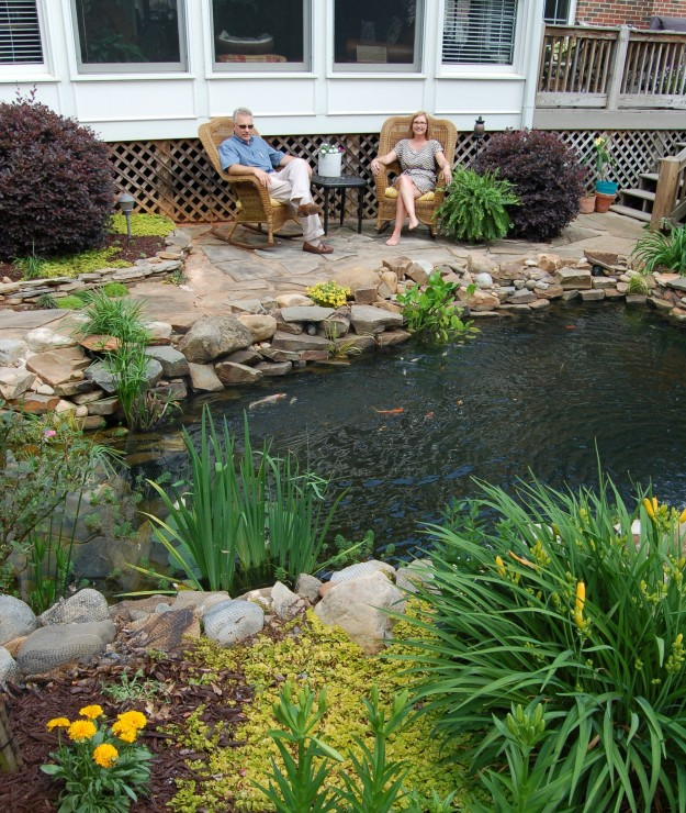 A 3,600 gallon water garden transforms Bill and Dale Rock's garden into a retreat.