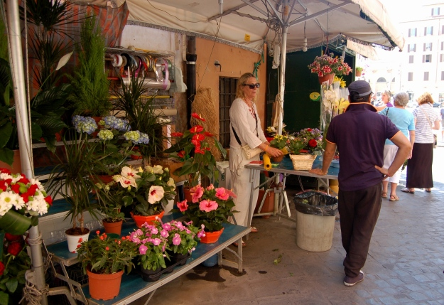 Market florist on Via Bellsiana, Rome.