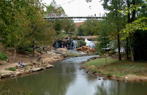 Liberty Bridge at Falls Park in downtown Greenville, South Carolina.