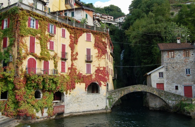 Waterfall and Roman bridge at Nesso as seen from Lake Como (Lago di Lario)