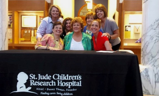 GFWC Executive Committe,  honored and thrilled to become a partner with St. Jude Children's Reasearch Hospital, Memphis, June  10:  (Front, L to R)  President-Elect Sheila, President Babs, St. Jude Coordinator; (B) Second V-P Marian, Secretary Deb, Treasurer Suellen, Director of Junior Clubs Cathy Jo