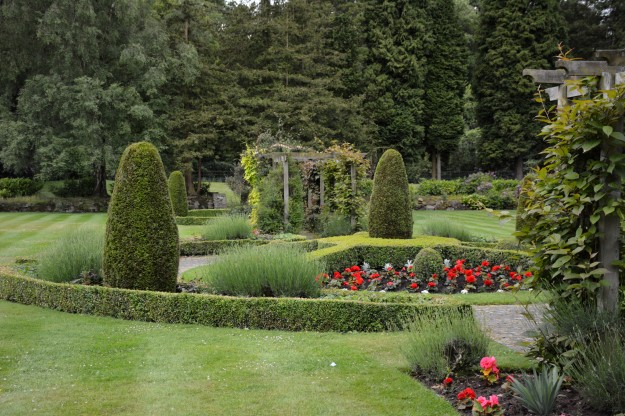 Mottram Hall garden, view across the center circle, from one pergola to the other.