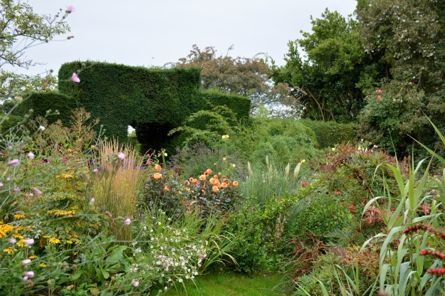 The Sunk Garden and Barn Garden looking towards the Meadow Garden (beyond the yew hedge).