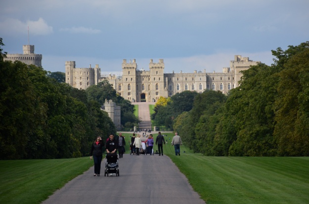 A view of Windsor Castle from the Long Walk, north of the Savill Garden.