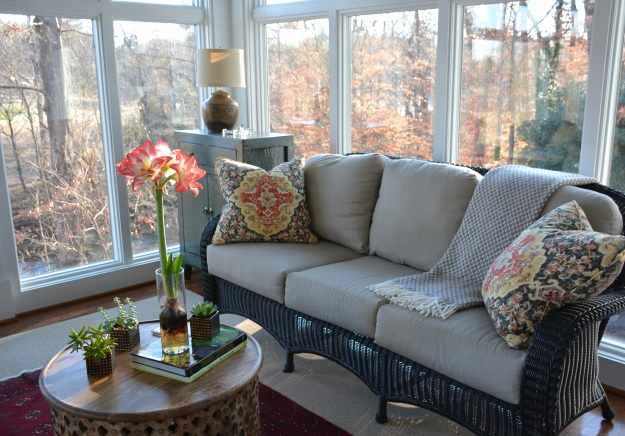 The winter view from the sunporch includes the colorful leaves of American beech trees.